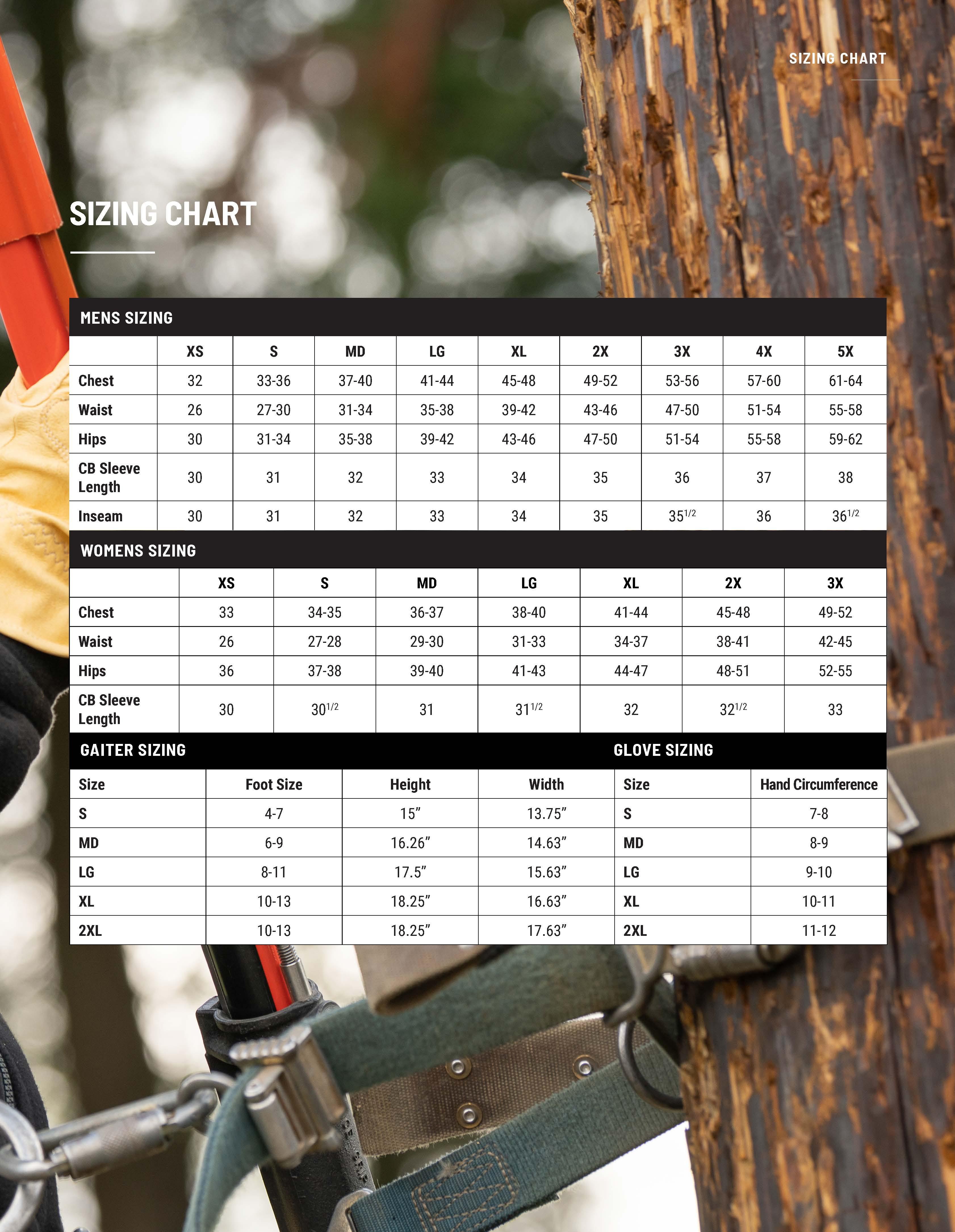 Dragonwear Sizing Chart